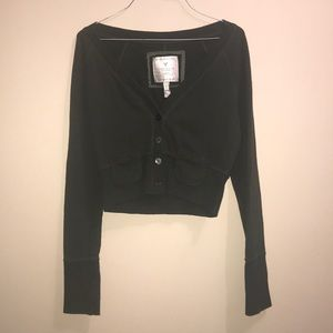 American Eagle Long Sleeve Cropped Button Sweater
